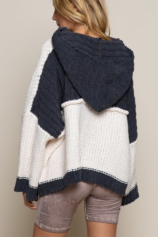 Chenille Color Block Hooded Sweater