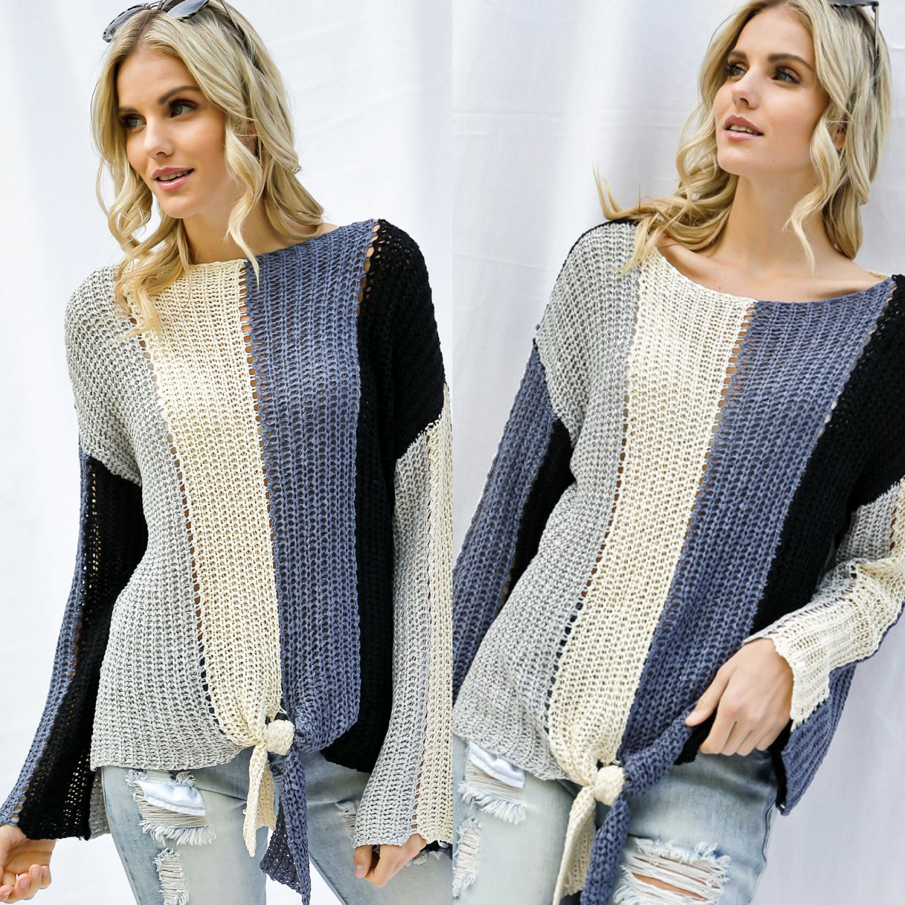 Knit Striped Tie Front Sweater