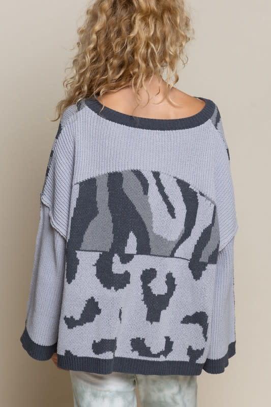 Boxy Camo Color Block Sweater