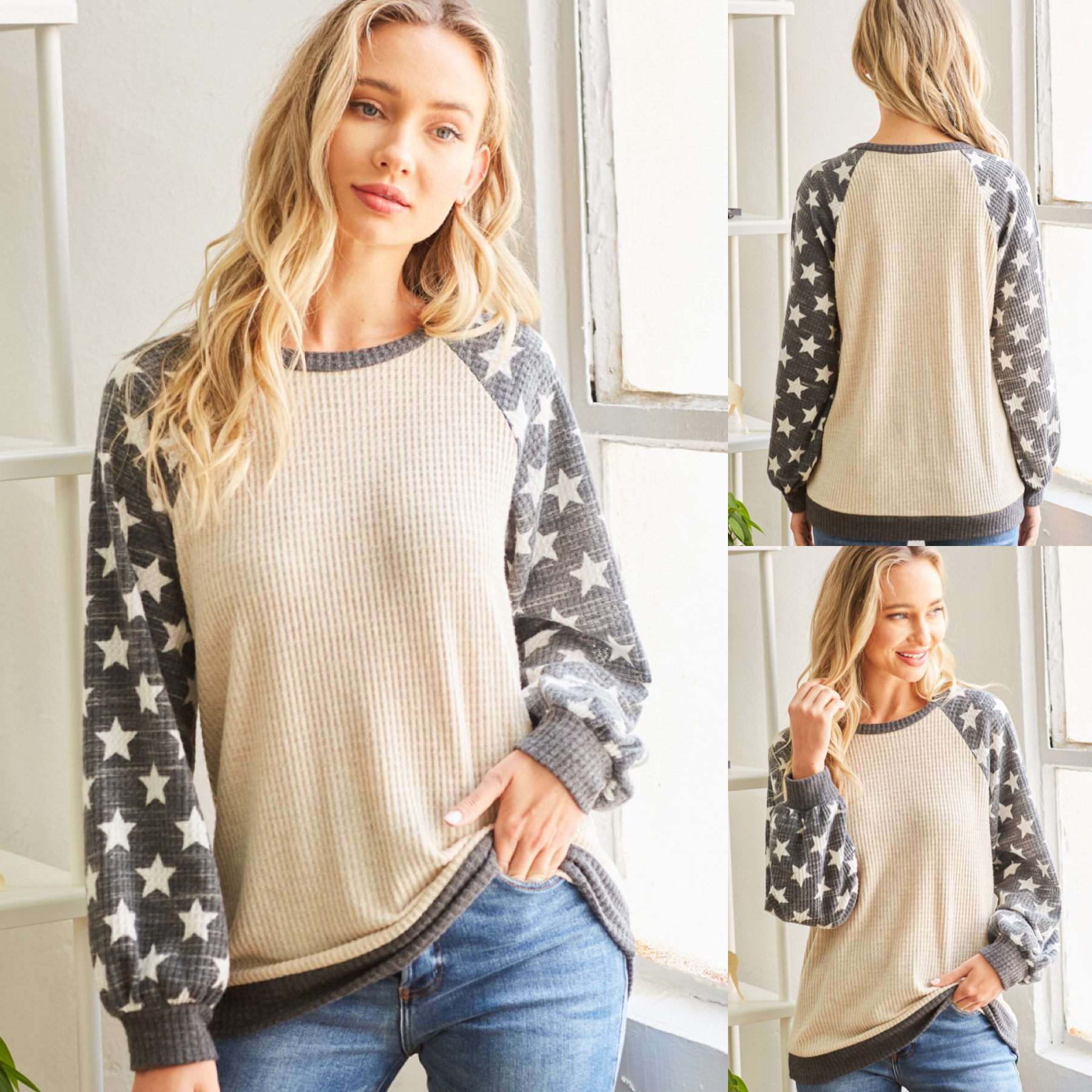 Waffle Top with Star Puff Sleeves