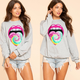 Lip & Heart Print Sweatshirt