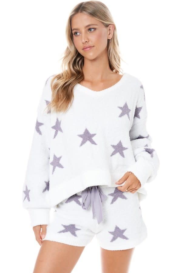 Star Print Cozy Pullover