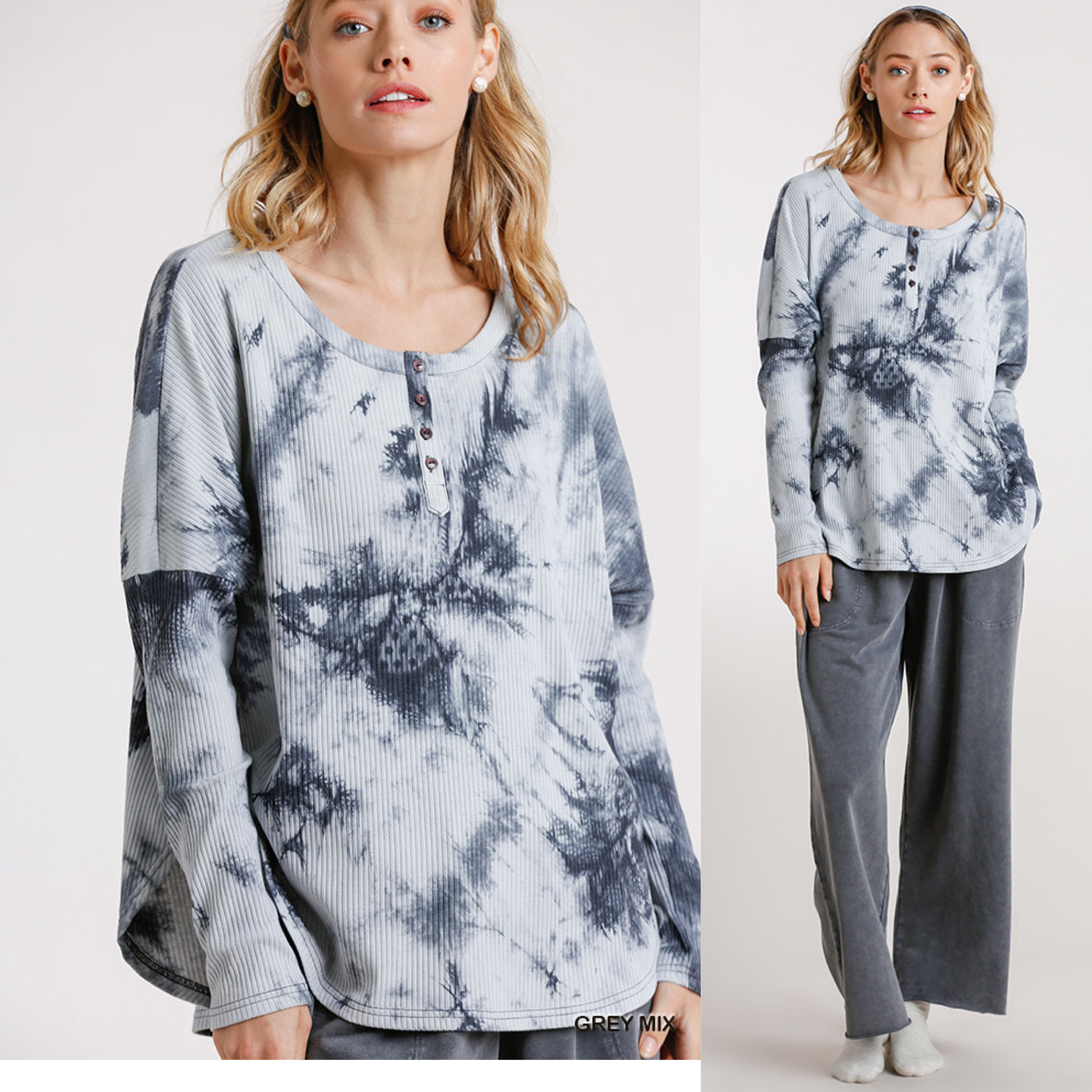 Tie Dye Ribbed Button Front Top