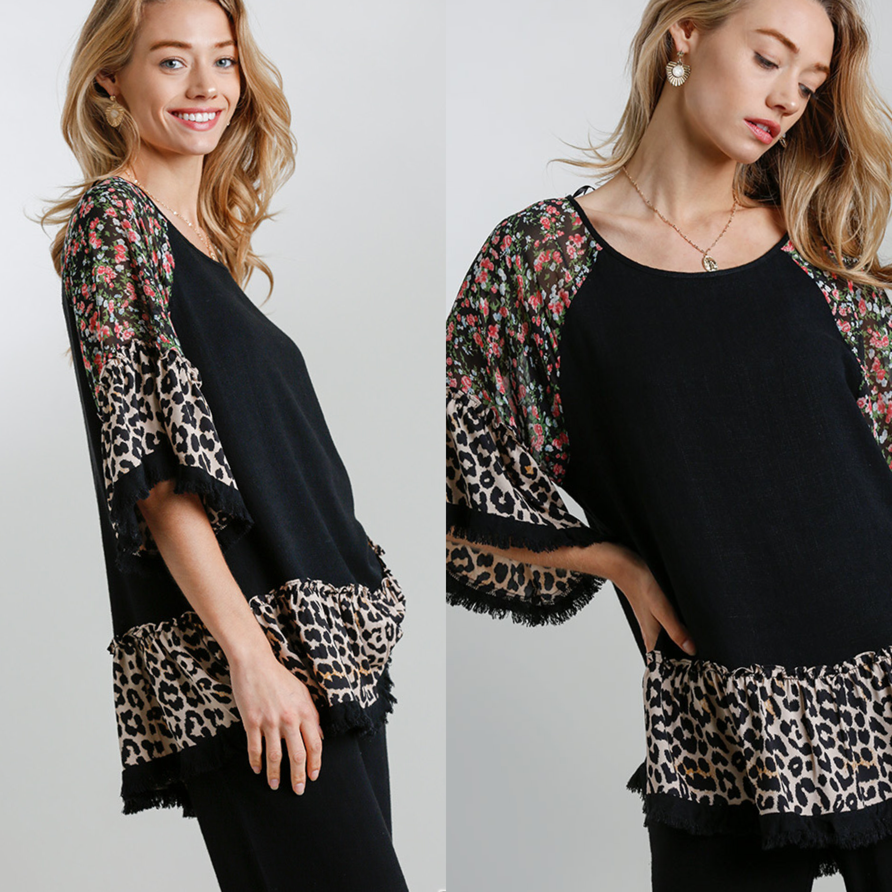 Floral and Animal Bell Sleeve Top