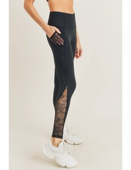 Floral Lace Inset Leggings