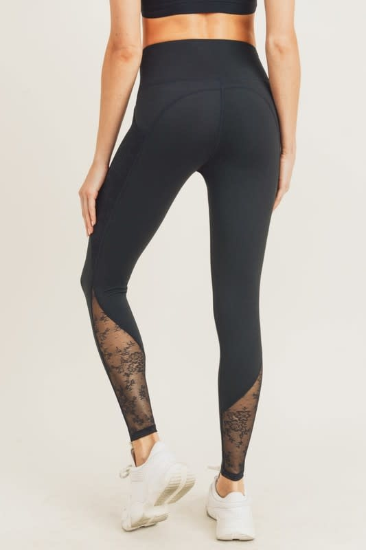 Floral Lace Inset Leggings