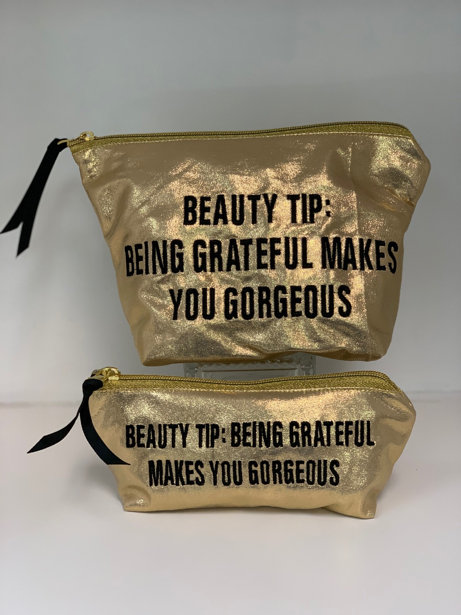 Gold Small Beauty Tip Cosmetic Bag