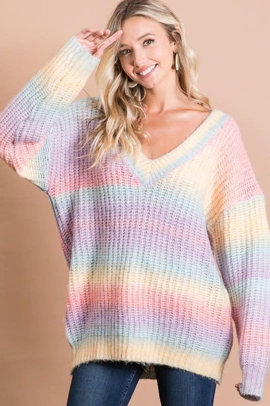 Tie Dye V Neck Sweater
