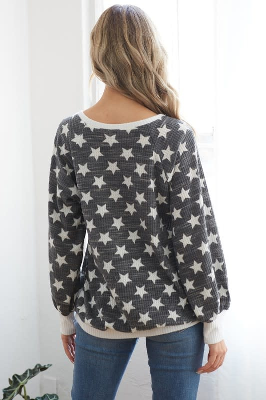 Star Print V Neck Top