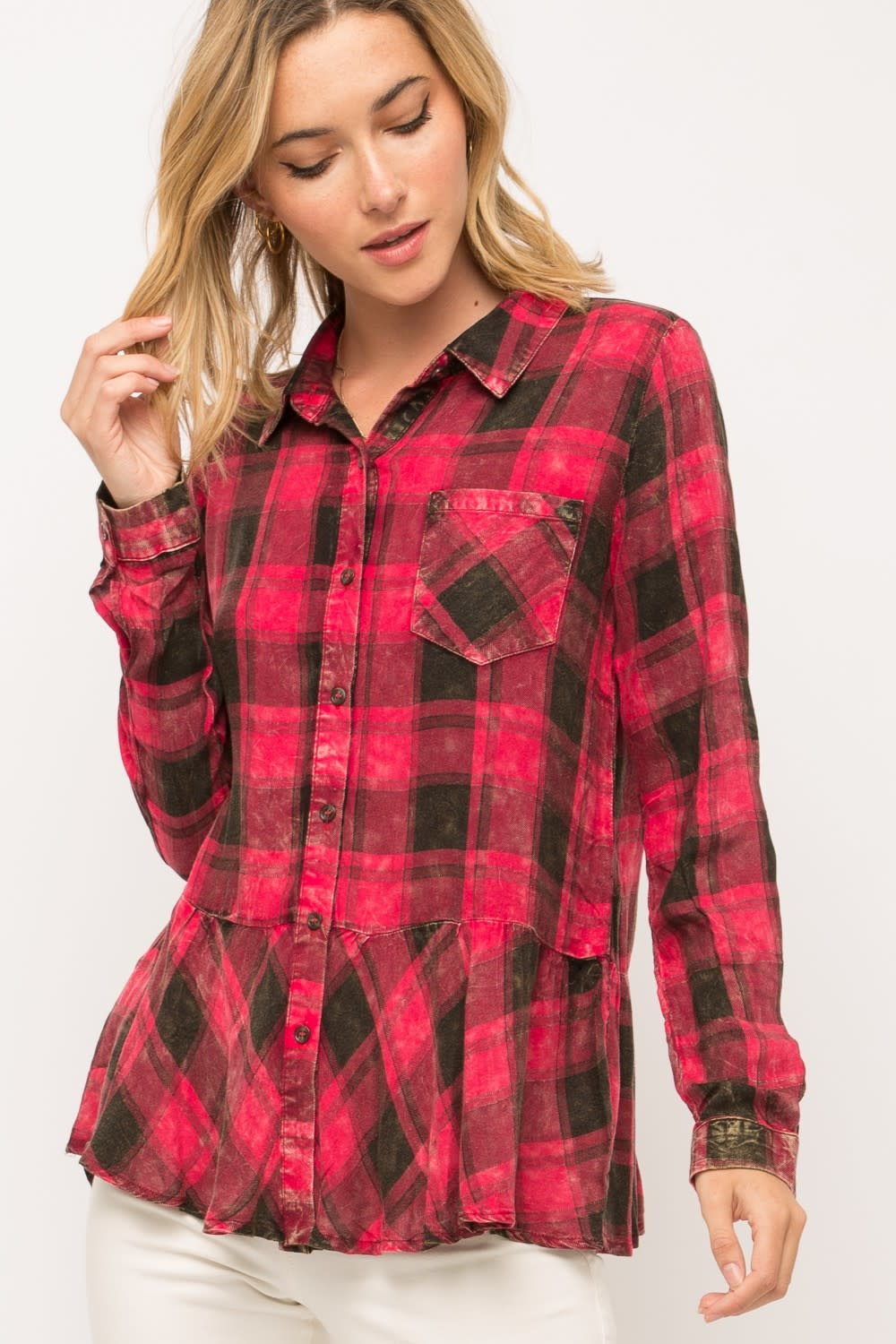 Washed Plaid Top With Ruffle Hem