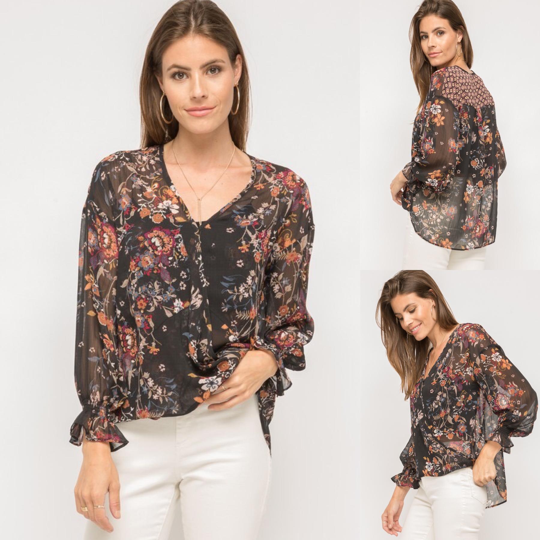 Wrap Floral Print Blouse