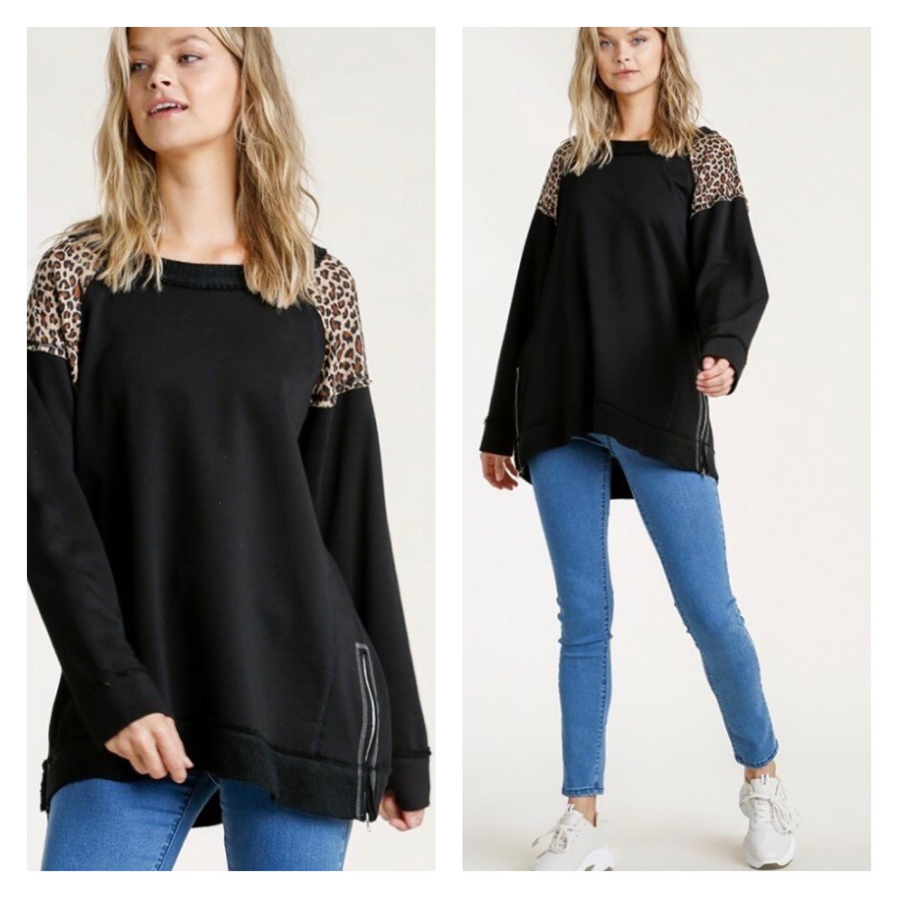 Leopard Detail Top w/ Side Zip