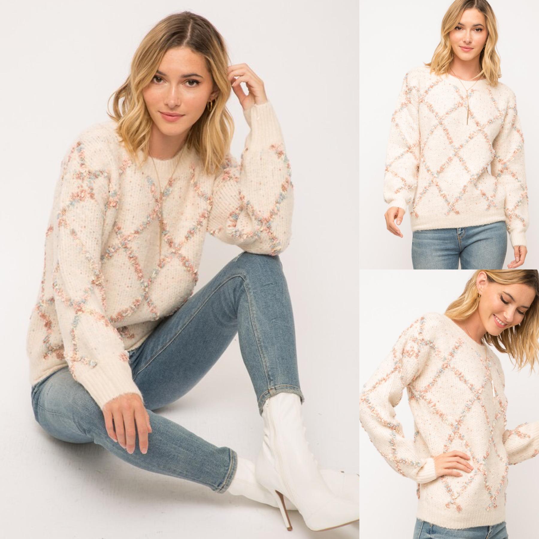 Popcorn Texture Knit Sweater