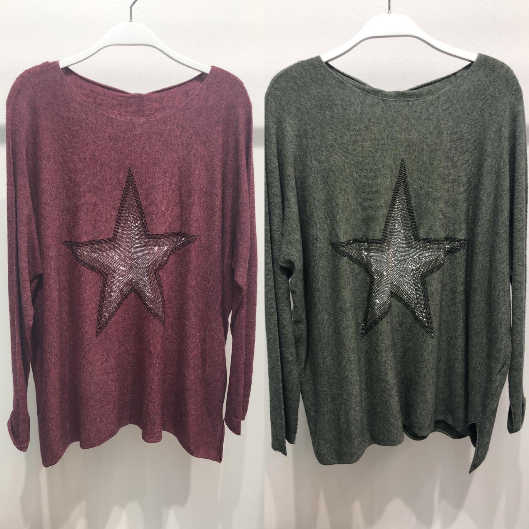 Rhinestone Star Knit Sweater