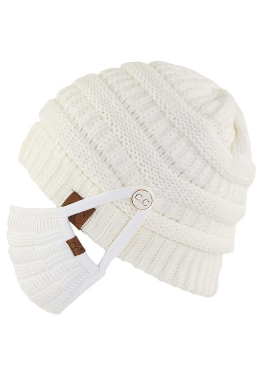 Ribbed Beanie with Matching Mask
