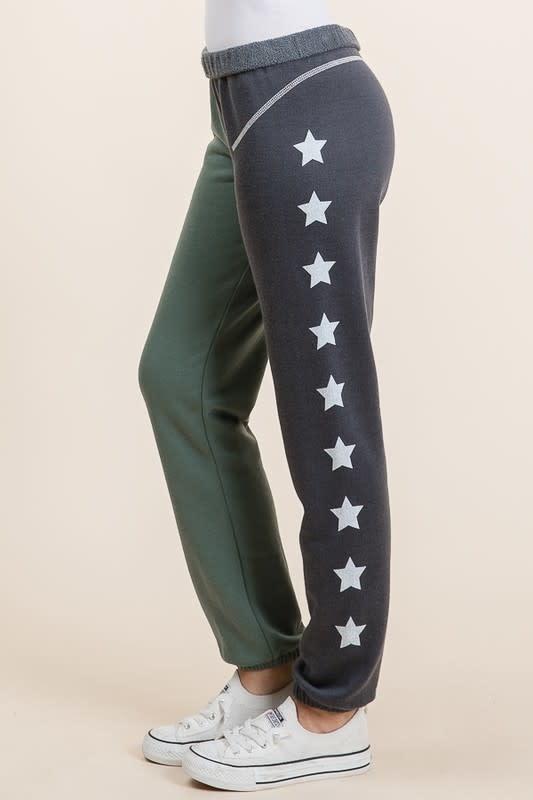 Color Block Sweatpants w/Star Detail