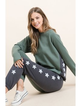 Sweatshirt w/ Star Detail & Thumb Holes