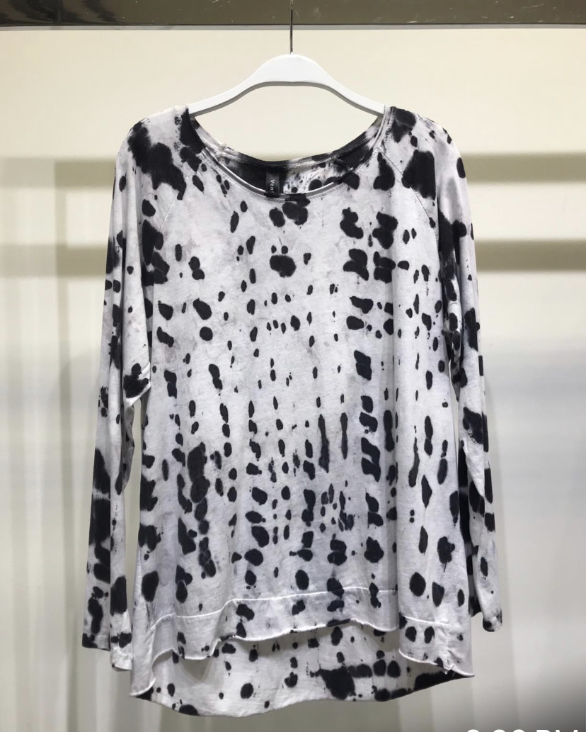 Spot Dye Double Hem Top