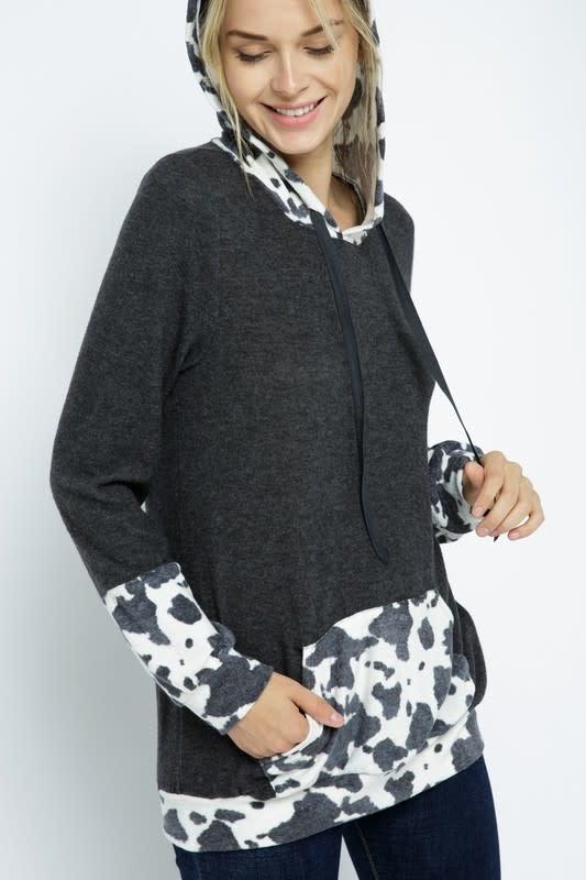 Cow Print Contrast Hoodie