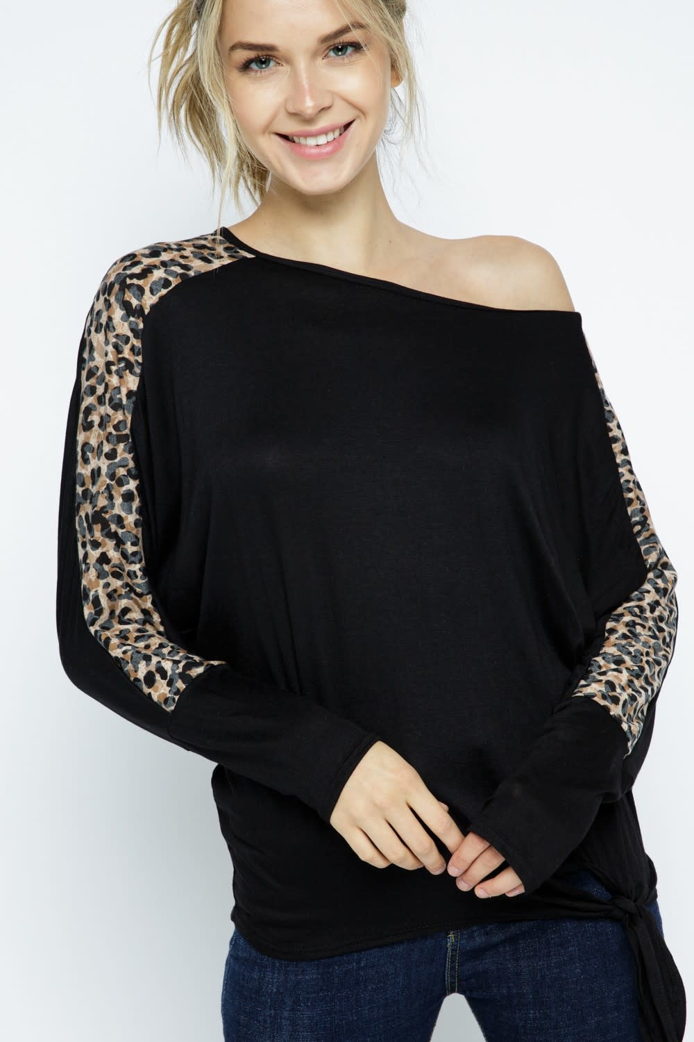 Dolman Sleeve Animal Print Tie Top