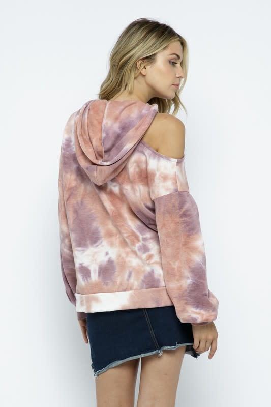 One Cold Shoulder Tie Dye Hoodie