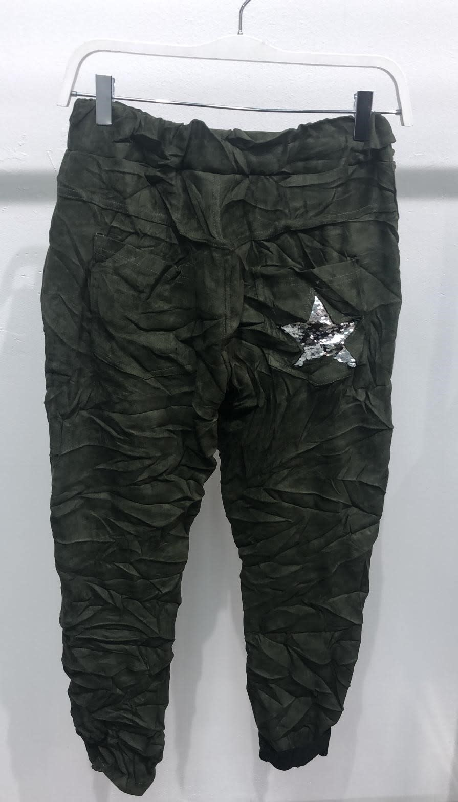 Suede Joggers w/ Sequin Star Pocket