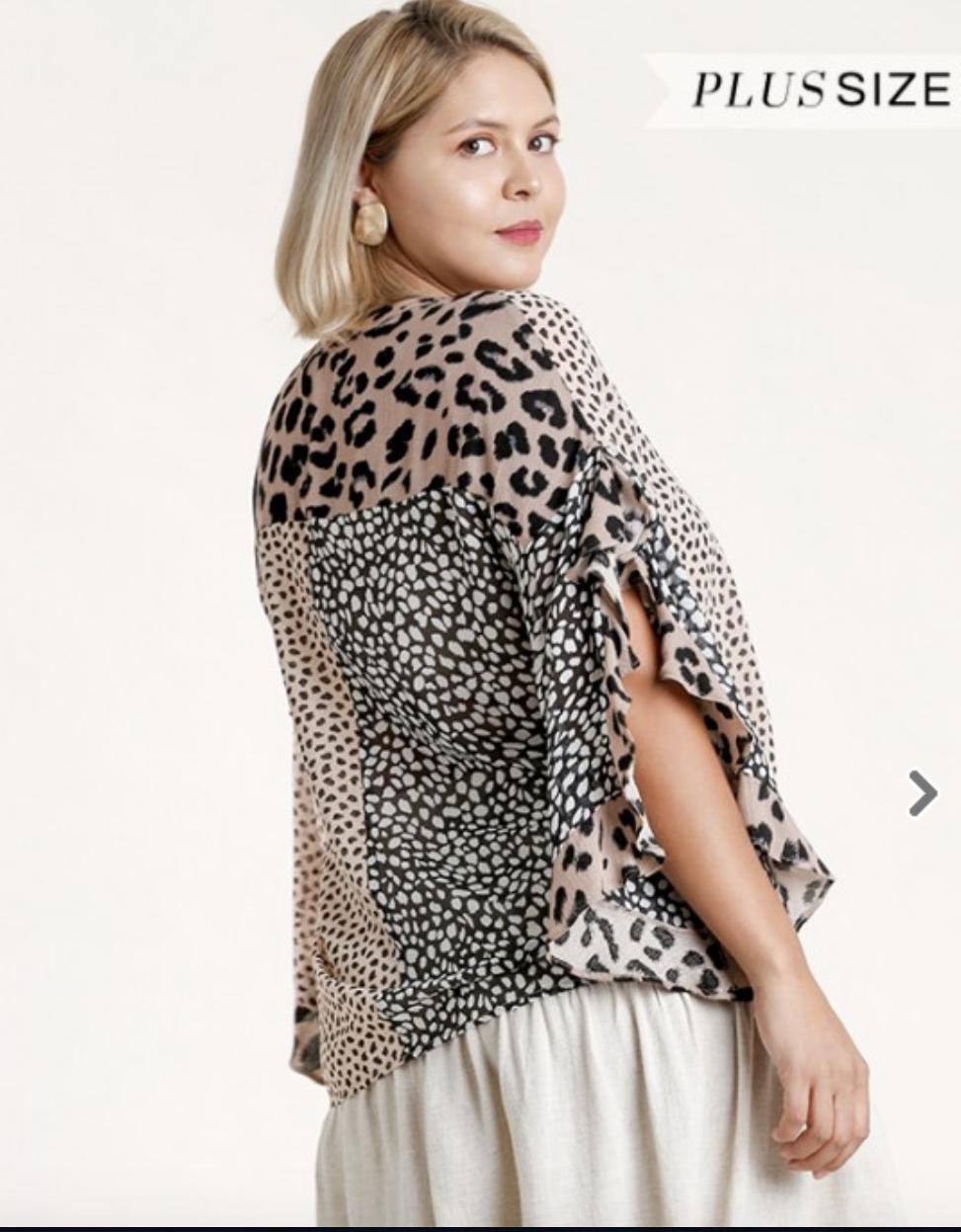Multi Animal Print Ruffle Sleeve Top