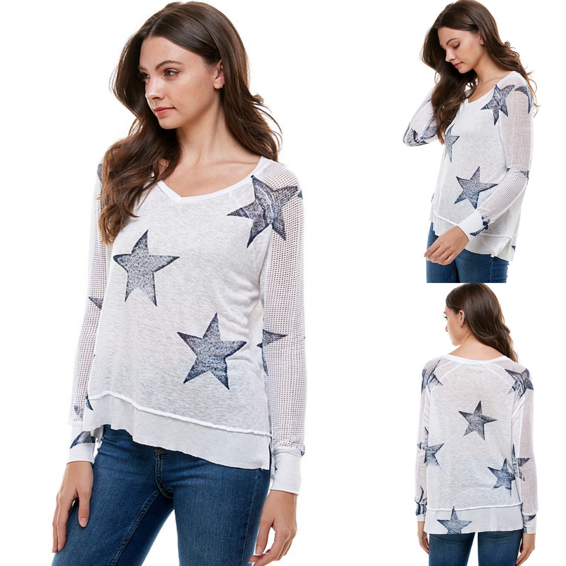 Fishnet Sleeve Star Print Top