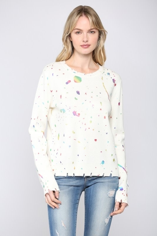 Paint Splattered Distressed Sweater