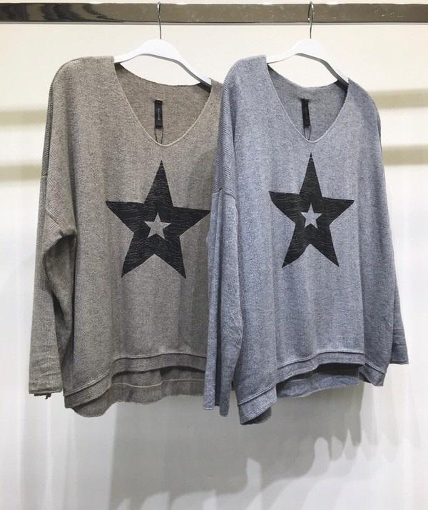 Distressed Foil Star Sweater