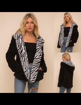 Animal Print Reversible Fleece Jacket