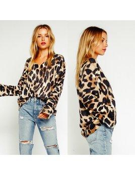 V Neck Leopard Sweater