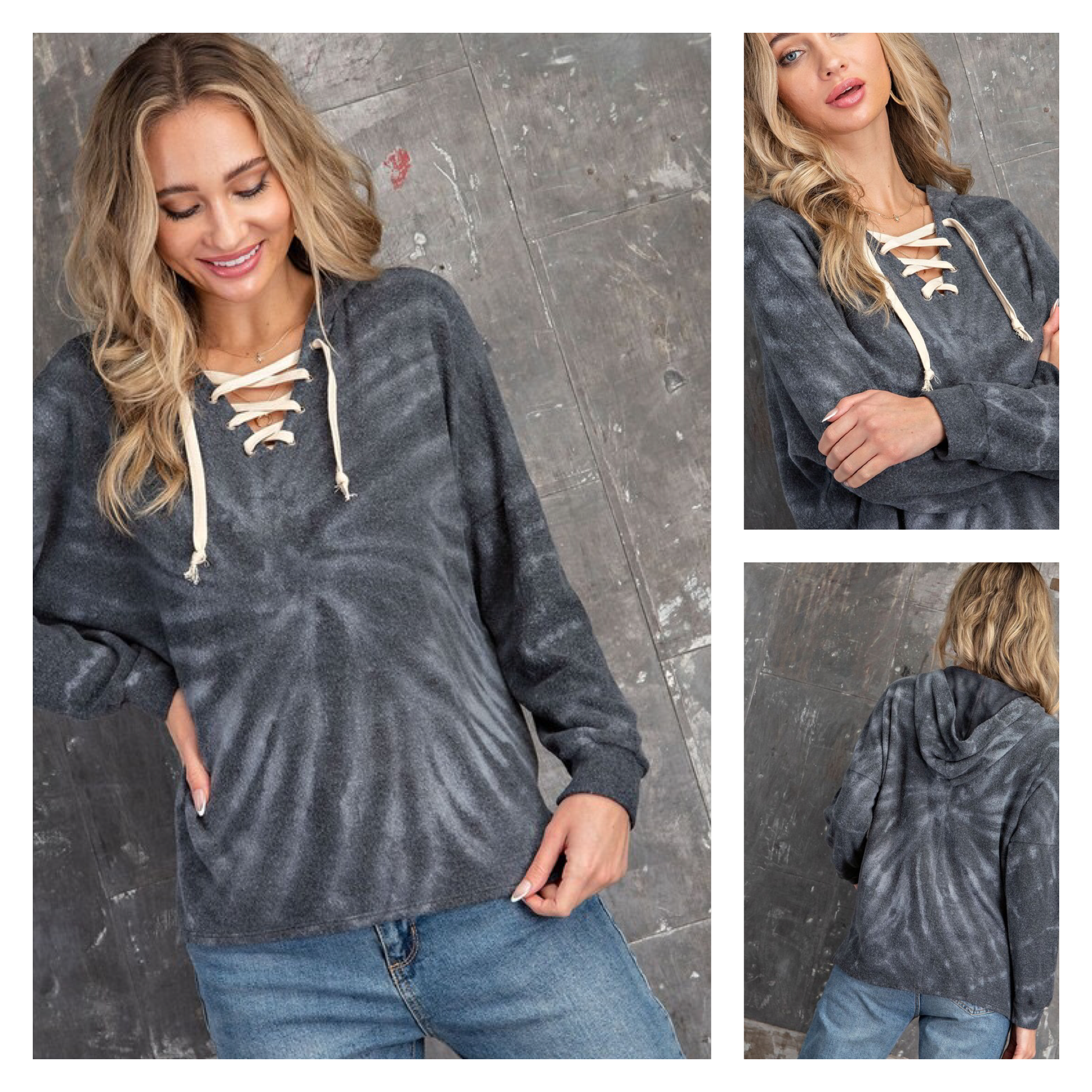 Lace Up Tie Dye Soft Hoodie