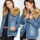 Faux Fur Distressed Jean Jacket
