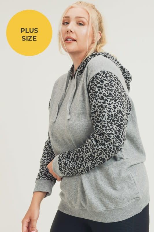 Cheetah Print Block Hoodie-PLUS