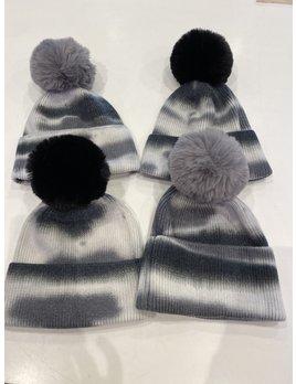 Tie Dye Fur Pom Pom Hat