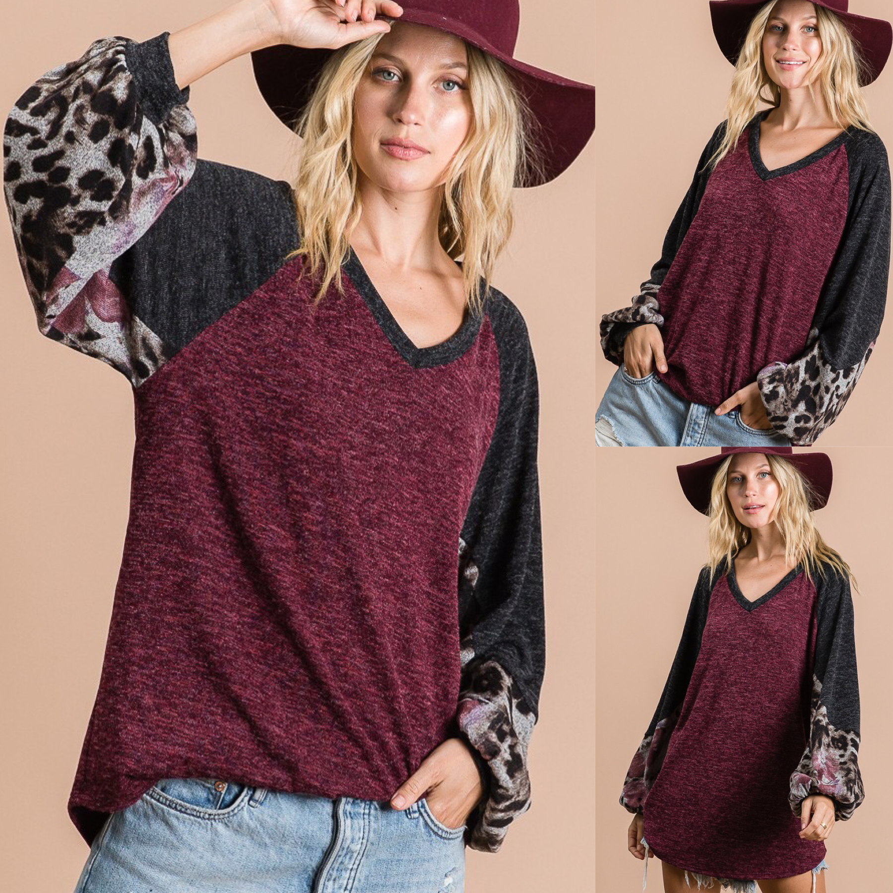 Floral & Animal Sleeve Color Block Top