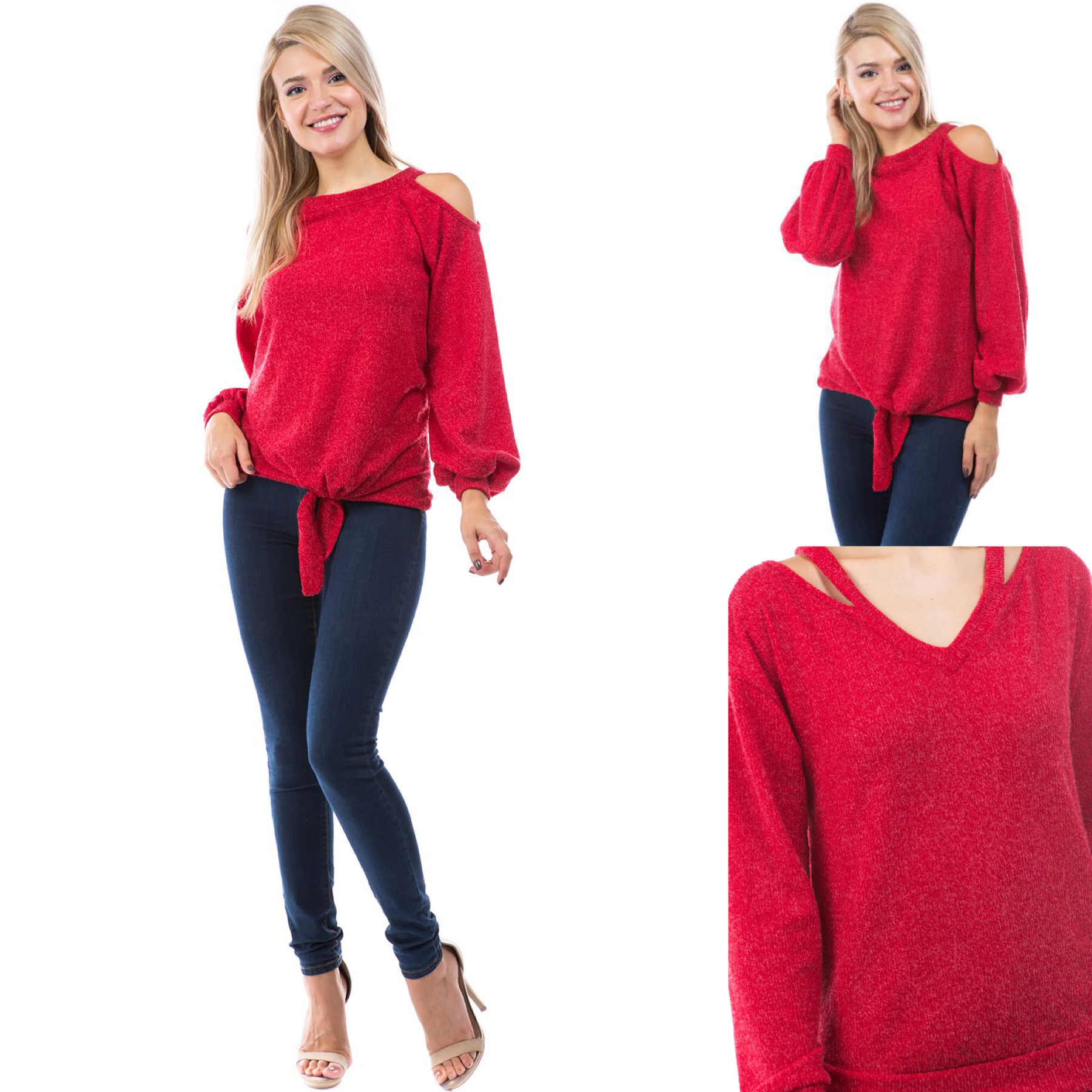 One Cold Shoulder Corded Sweater
