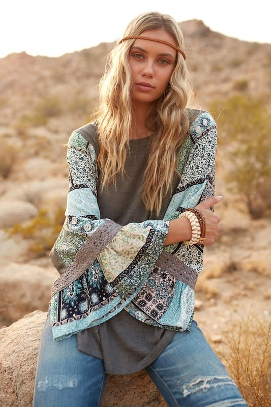 Patchwork Bell Sleeve Top