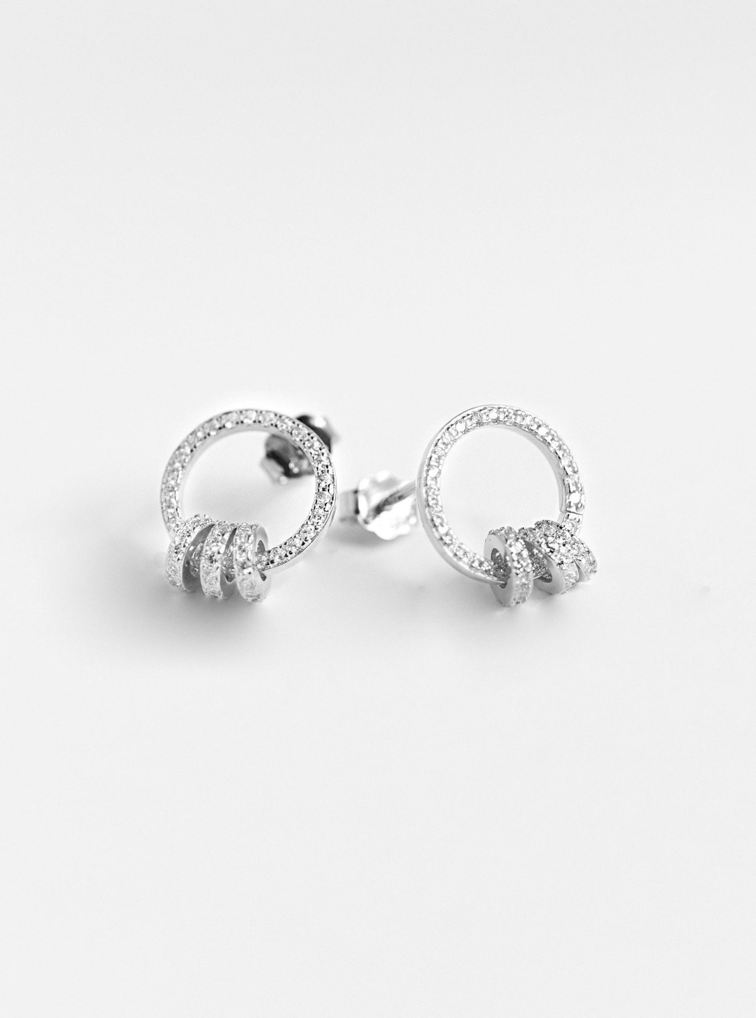 CZ Interlock Hoop Earrings