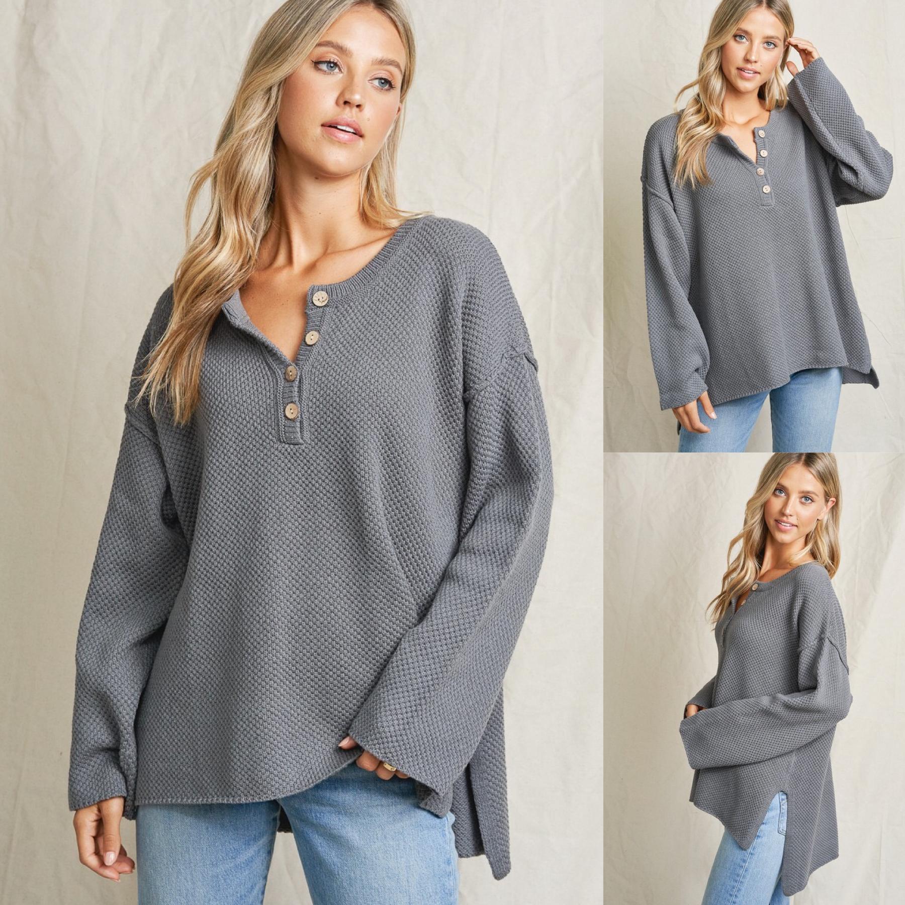 Henley Sweater Top