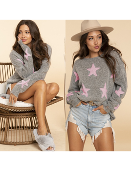 Star Print Distressed Sweater
