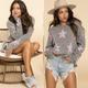 Star Print Distressed Sweater