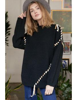 Tie Detail Mock Neck Sweater