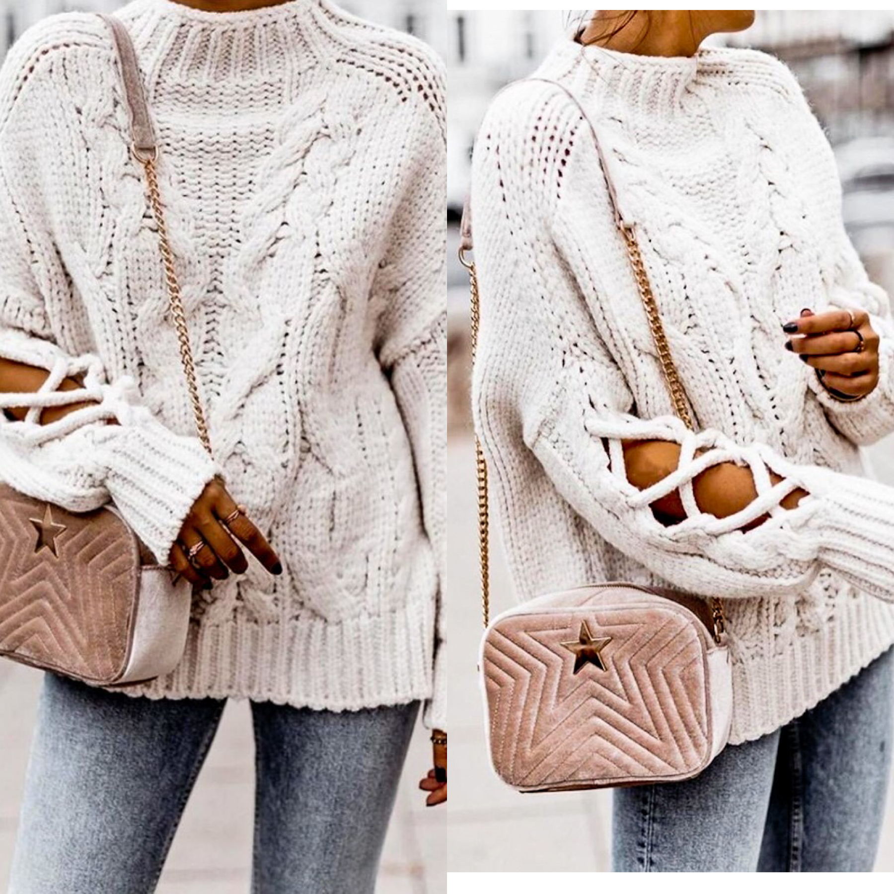 Cable Sweater with Tie Sleeve