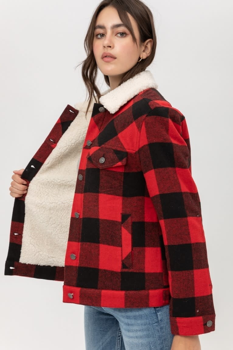 Sherpa Lined Plaid Jacket