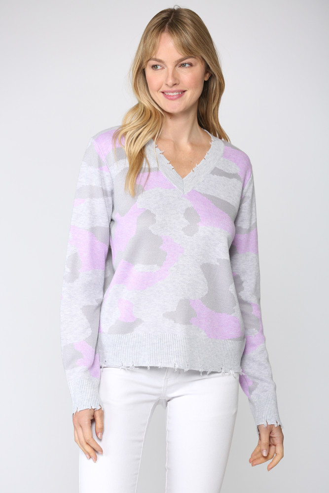 Distressed Camouflage Sweater