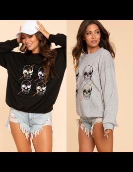 Skull with Lightning Bolt Sweatshirt