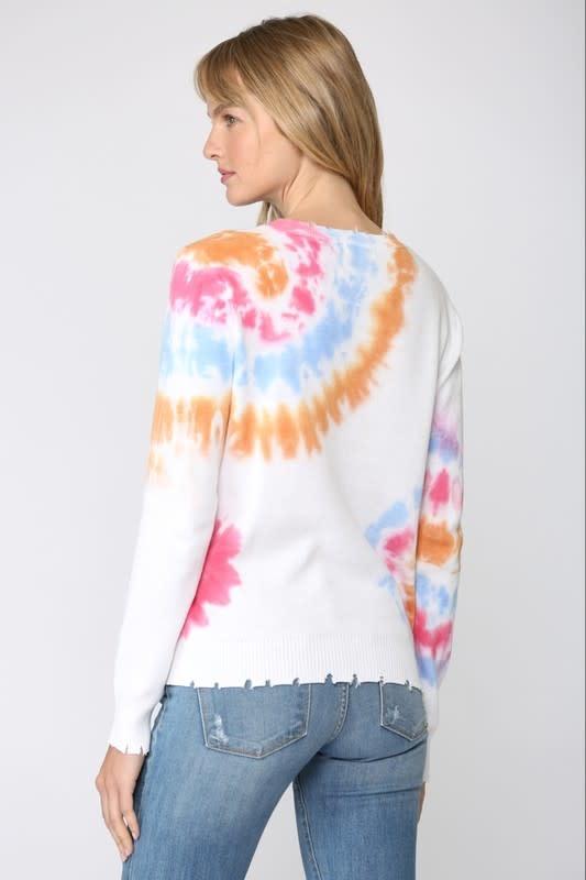 Distressed Tie Dye Crew Neck Sweater
