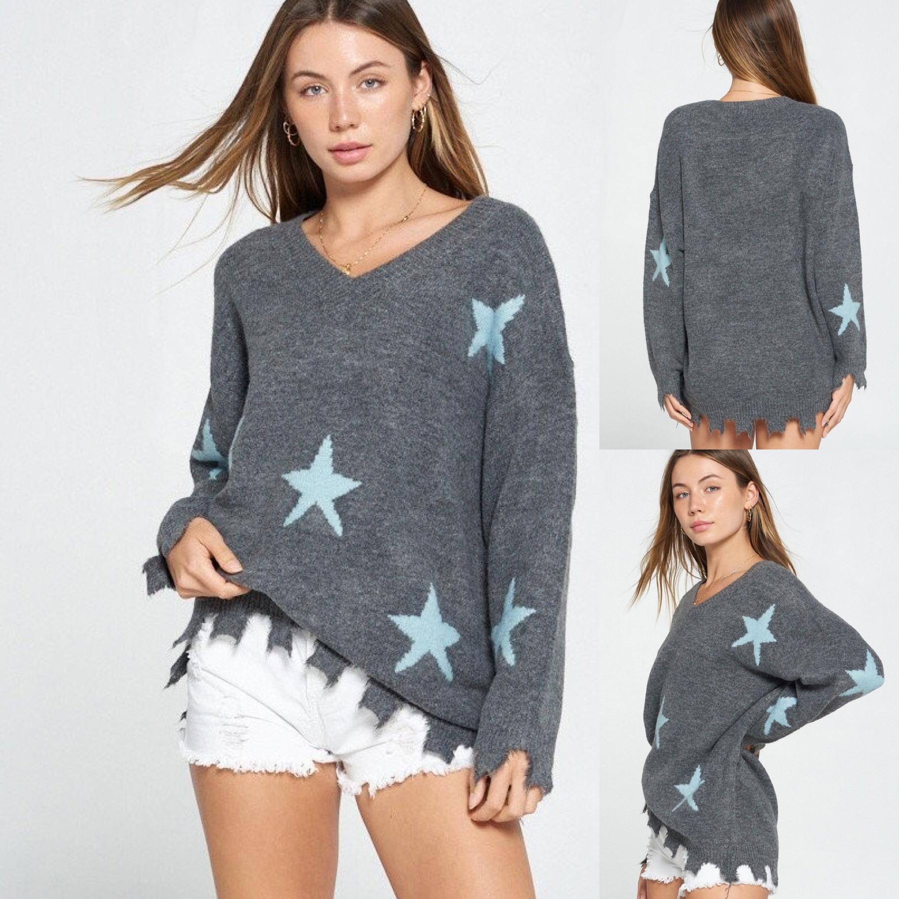 Oversized Star Print Sweater